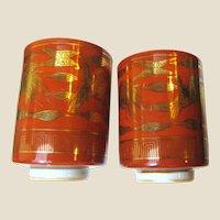 Japanese Gilt Porcelain His & Hers Tea Cups,Showa Period