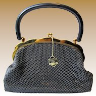 Vintage Whiting & Davis Black Diamond Mesh Purse, Excellent