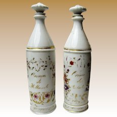 Antique Pair of Paris Porcelain Liqueur Bottles, Second French Empire Period
