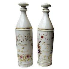 Antique Pair of Paris Porcelain Liqueur Bottles, Second French Empire Period