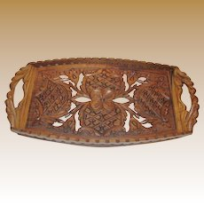 Hand Carved Asian Wood Tray with Handles, Lattice & Pierced Design, Mint