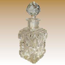 Vintage Hand Cut Crystal Perfume Bottle w/ Prismatic Stopper