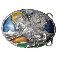 Indian Chief Enameled Belt Buckle by Siskiyou USA