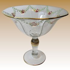 Art Deco Rose Swag Hand Painted Tall Pedestal Bowl