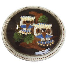 """12"""" Folk Art Handarbeit Wall/Serving Pottery Platter, Owl Design"""