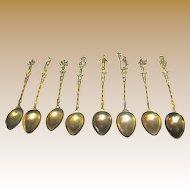 6 Vintage Brass Italian Figural Demitasse Spoons