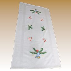 Christmas Bells Hand Embroidered Runner w/ Gilt Thread