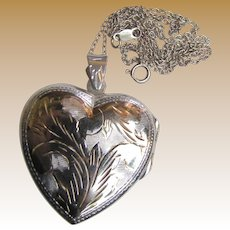 Huge Engraved Heart Sterling Silver Locket w/ Chain, 14 grams