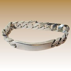 "81 Gram Italian Jeweler Made Sterling 8 1/2"" ID Bracelet"