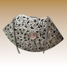 Filigree Metal Evening Bag w/ Amethyst Quartz Decoration
