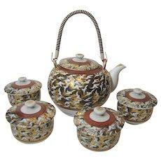 Japanese Kutani Tea Set (Thousand Crane Design), Gilt & Hand Painted