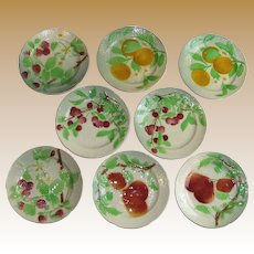 "8 St Clement French Majolica 8"" Plates,1890-1930"
