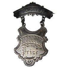 Antique Demorest Prohibition Prize Medal Silver Pin