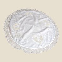 "24"" Arts & Crafts Hand Embroidered Linen Doily w/ Lace Border"