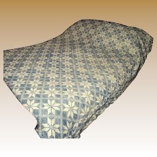 19th Century Hand Woven Jacquard Wool Coverlet