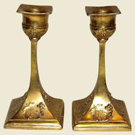 Pair of Art Nouveau Ornate Ormolu Bronze Candlesticks, Elegant Petite Form