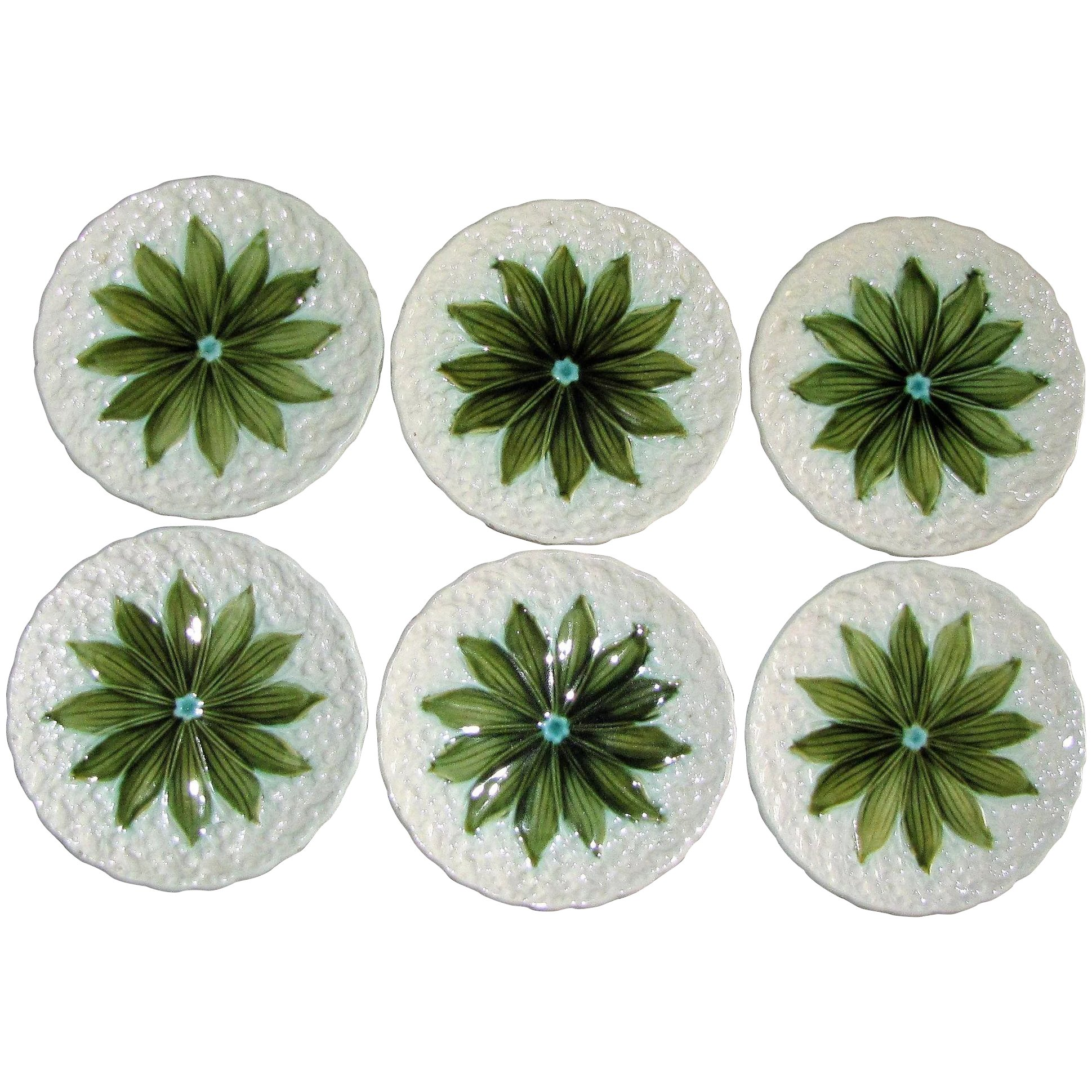 Spring Decor SMF Schramberg Pottery with Art Deco Influence Set of 7 German Majolica Lily of the Valley Pink and Green Plates