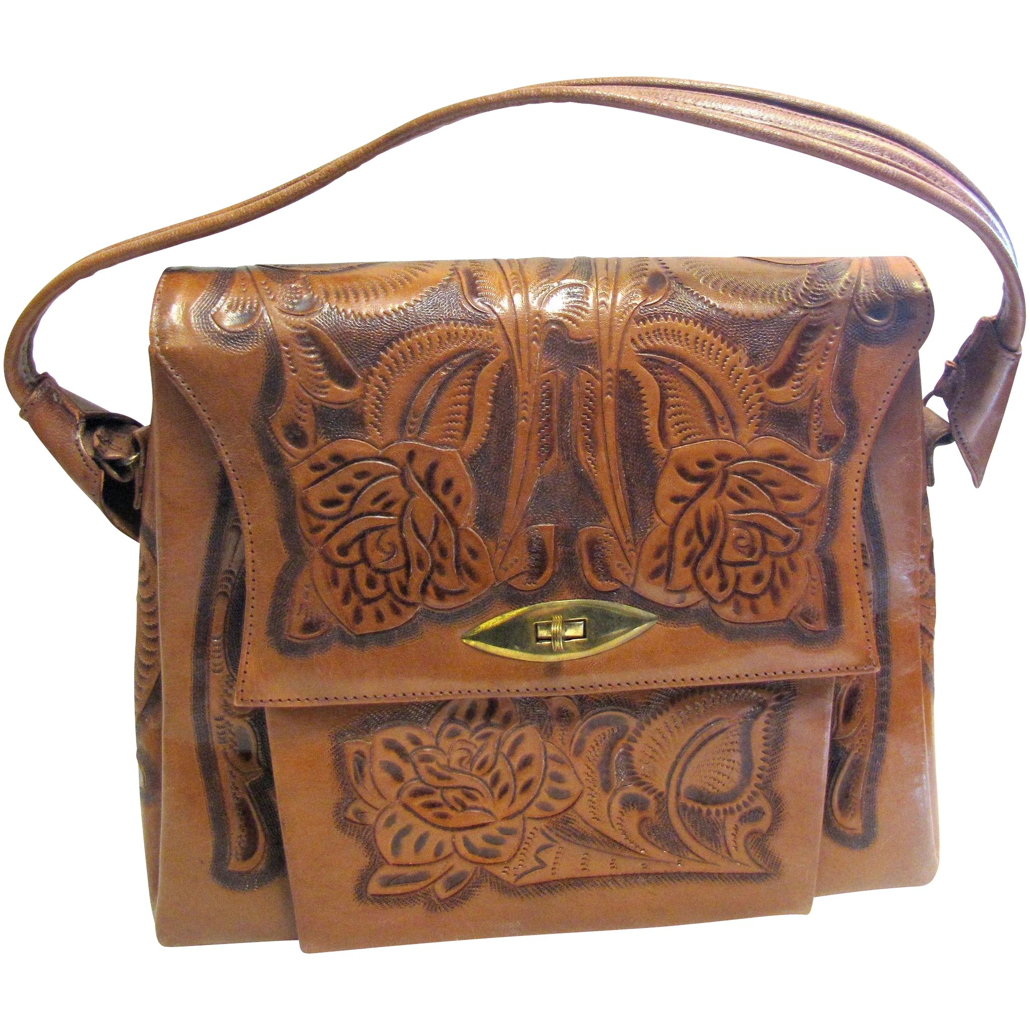c5f9245e12 Vintage Mexican Hand Tooled Leather Purse