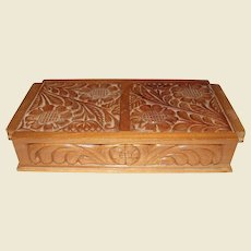 Vintage European Chip Carved Box w/ Two Compartments