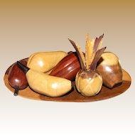 Vintage Miniature Artisan Sculpture of Wood Tropical Fruits w/  Bowl