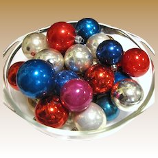 32 Mixed Color & Size Vintage Glass Tree Ornaments