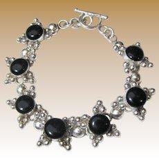 Heavy Sterling Silver & Black Cab Star Panel Bracelet, 35 grams