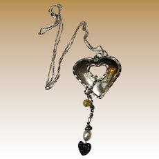 Romantic Sterling & FW Pearl Heart Charm Necklace on Twist Chain, 12 grams