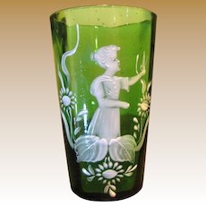 Circa 1900 Mary Gregory Small Vase or Tumbler, Girl w/ Butterfly