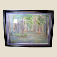 Regional Water Color Painting of Bald Cypress in the Swamp Lands, Roland McCollum