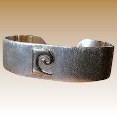 Iconic Pierre Cardin 1970's 14K & Sterling Logo Cuff Bracelet, 40 grams