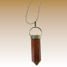 Goldstone & Sterling Prism Necklace on Fine Ball Chain, 10 grams