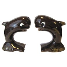 Vintage Whale Salt & Pepper Shakers, Brown Ceramic, Japan, Fun Maritime!