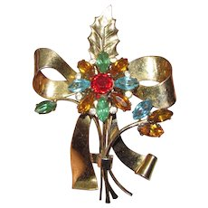 Coro-Craft Sterling Vermeil Rhinestone Flower Pin