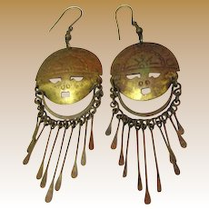 Large Tribal Mask Brass Fringe Earrings