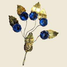 """Art Deco Gilt Sterling """"Trembler"""" Floral Pin"""