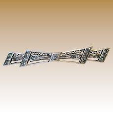 1920's Art Deco Sterling & Brilliants Filigree Bar Pin
