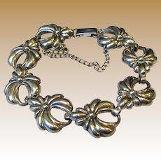 """Art Deco Lang Sterling Repousse Bracelet, 6 1/2"""",  20 grams"""