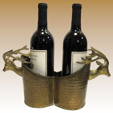 Hammered Brass Stag Head Double Wine Bottle Holder