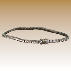 "7 1/4"" Faux Diamond & Sterling Tennis Bracelet, 12 grams"