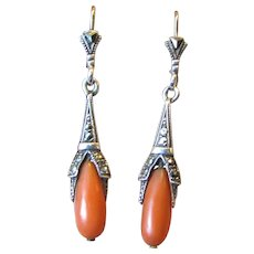 Art Deco 935 Silver & Coral Earrings with Marcasites
