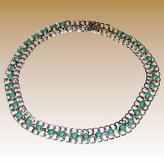 "Mexican Sterling & Turquoise Collar Necklace, 14 3/4"", 47 grams"