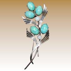 "Art Deco Sterling & Art Glass 3 5/8"" Pin, 18 Grams"