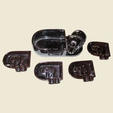 Elephant Design Stackable Ashtrays w/ Caddy, 1960's Japan