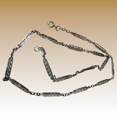"Antique French 800-900 Silver Filigree 16"" Chain"
