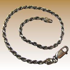 "Italian Sterling 7 1/4"" Rope Twist Bracelet, 5 grams"