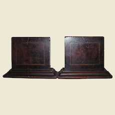 Antique Edwardian String Inlaid Mahogany Bookends