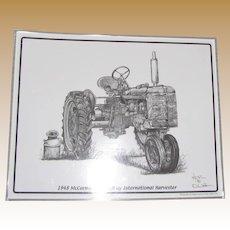 "1948 McCormick Farmall International Harvester Print by Artist Dale Adkins, Laminated 11"" x 14"""