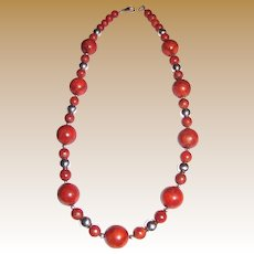 "Gorgeous Sponge Coral & Sterling 18"" Necklace, Large 12 mm Beads"