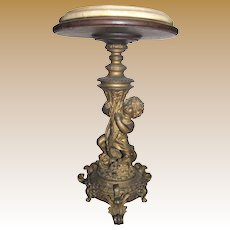 "20"" Victorian Gilt Bronze & Marble Banquet Table Top Flower Stand"