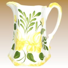 Vintage Milk Pitcher, Made by Cash Family, Hand Painted Pottery, USA, Like New